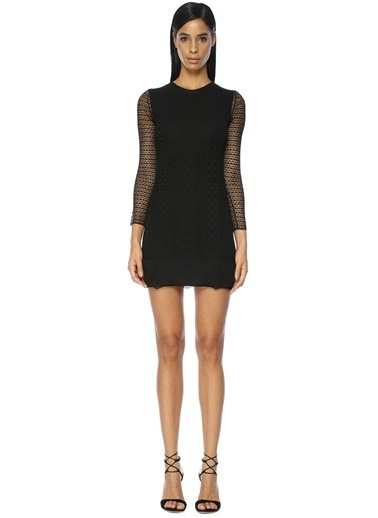 Kolları Transparan Mini Triko Elbise-Academia